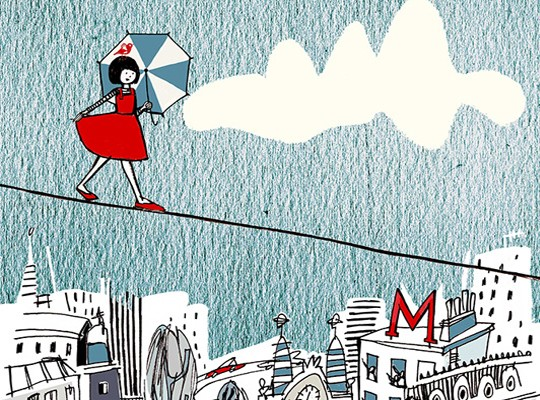 Children's illustration of girl walking on tight rope over city by Anna Hymas